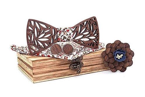 Luxury Wood Bow Tie Set - Flower
