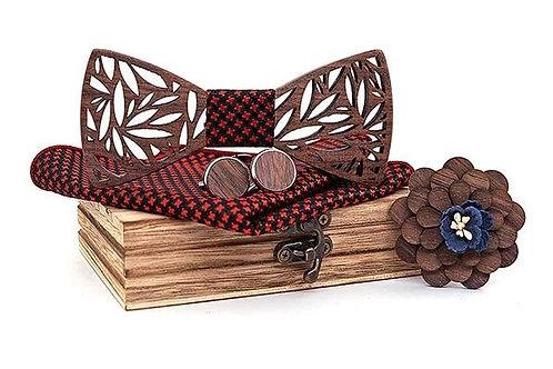 Luxury Wood Bow Tie Set - Red
