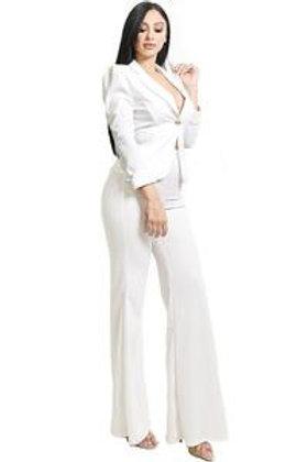 Emily -  2pc Tailored Pants Set - White