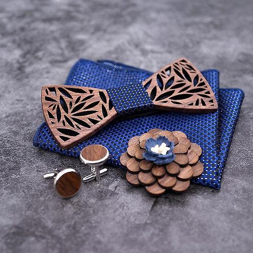 Luxury Wood Bow Tie Set - Navy