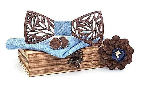 Luxury Wood Bow Tie Set - Blue