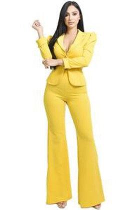 Emily -  2pc Tailored Pants Set - Yellow