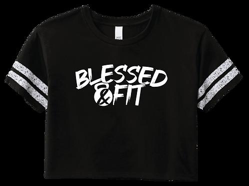 Blessed & Fit Crop Tee - Black