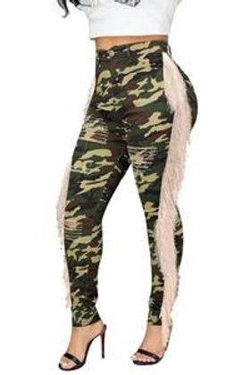 Pam - Camouflage Fringe Pants