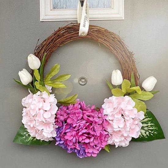 Hydrangea half wreath
