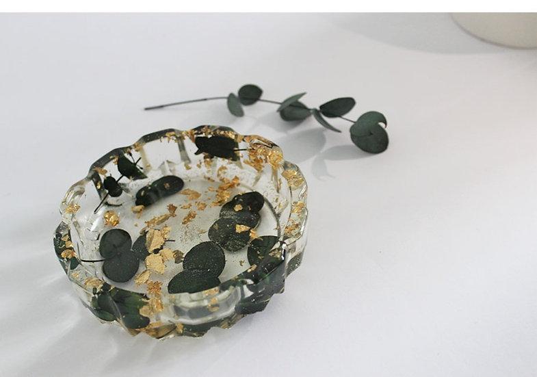 Black Eucalyptus and Gold Leaf Ashtray/Trinket Dish