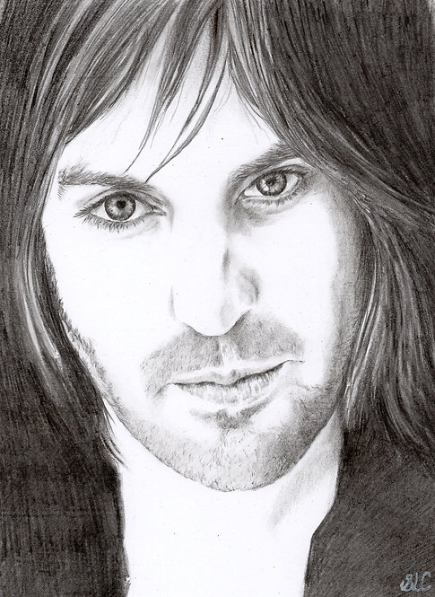 Print of original drawing of Noel Fielding by Sarah Caisey
