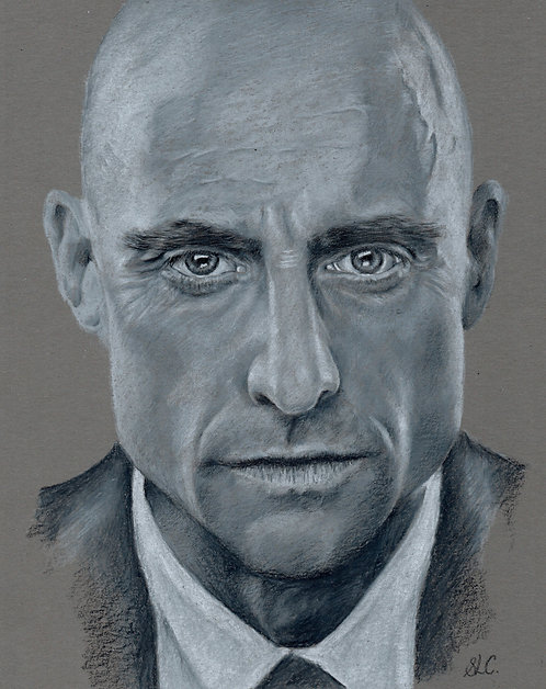 Print of original drawing of Mark Strong by Sarah Caisey
