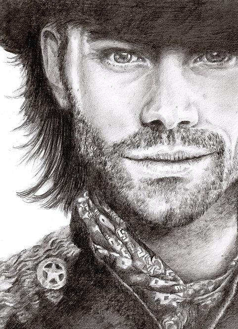 Print of original drawing of Jared Padalecki by Sarah Caisey