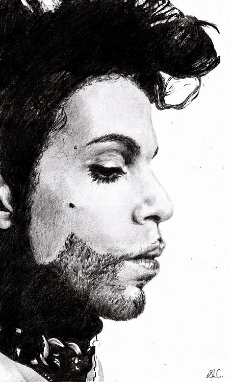 Print of original drawing of Prince by Sarah Caisey
