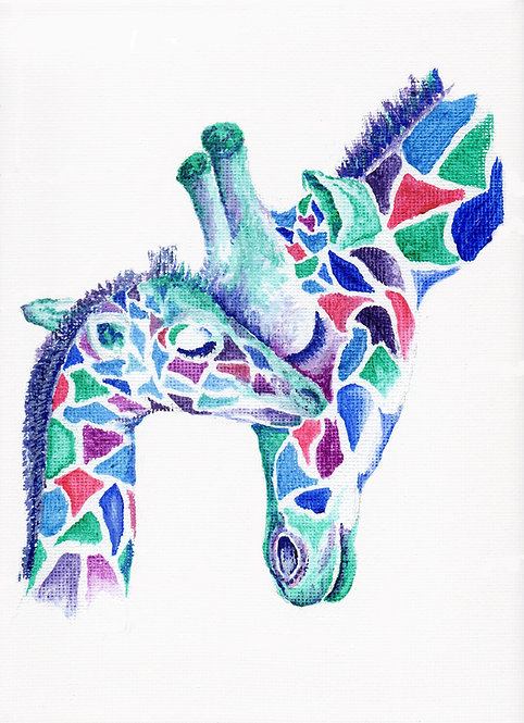 Print of original painting of a giraffe and baby by Sarah Caisey