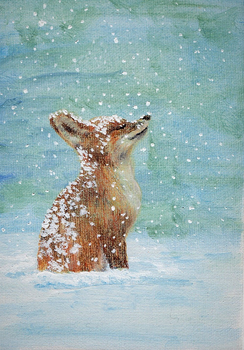 Print of original drawing of a fox in snow by Sarah Caisey