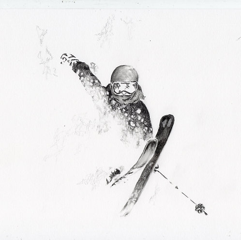 Blank card. Skier. Print of original drawing by Sarah Caisey