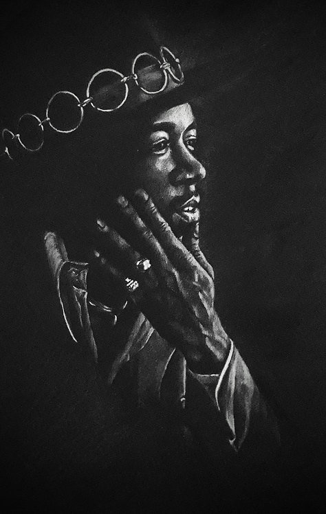 Print of original drawing of Jimi Hendrix by Sarah Caisey