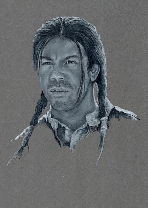 Print of original drawing of Christian Kane as Abe Wheeler