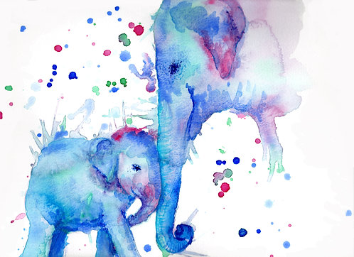 Print of original painting of an Elephant and baby by Sarah Caisey