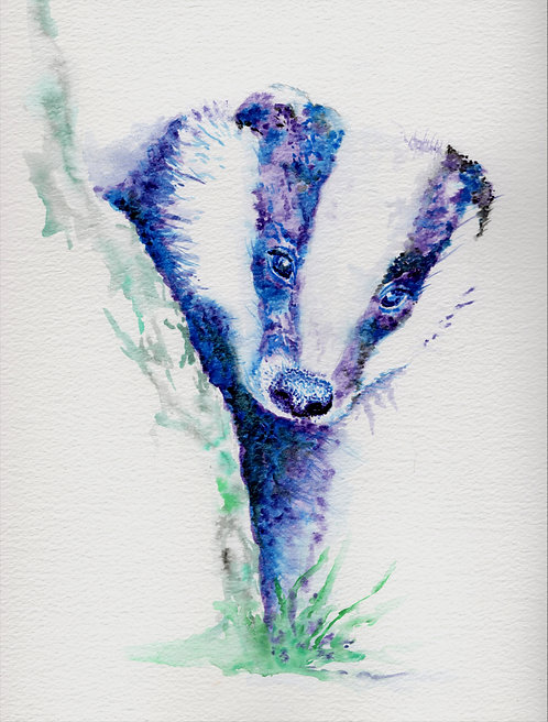 Blank card. Badger. Print of original painting by Sarah Caisey