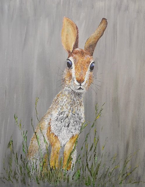 Blank card. Inquisitive hare.  Print of original painting by Sarah Caisey