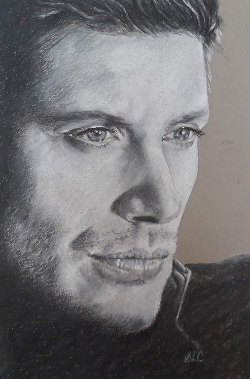 Print of original drawing of Jensen Ackles by Sarah Caisey
