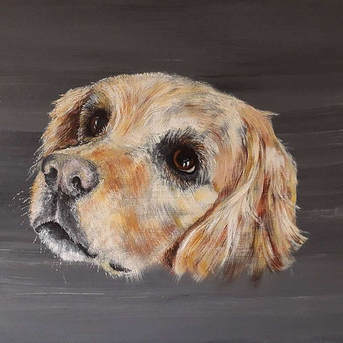 Original acrylic painting of a Golden Retriever