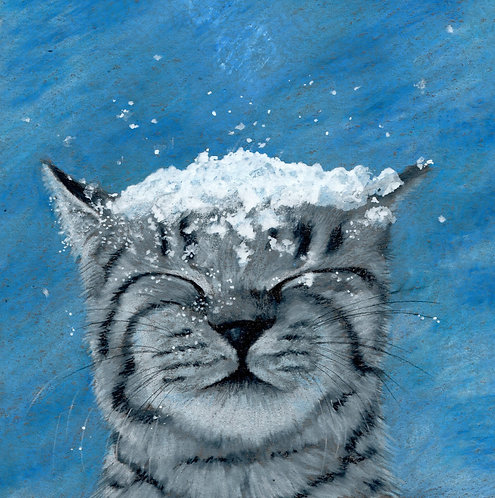 Cat in snow blank card. Print of my original drawing