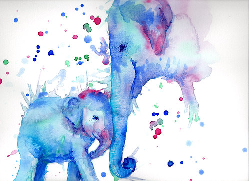 Blank card. Elephant mother and baby. Print of painting by artist Sarah Caisey
