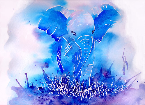 Blank card. Blue elephant. Print of painting by Sarah Caisey