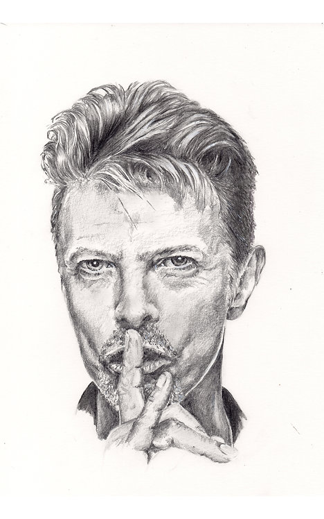 Print of original drawing of David Bowie by Sarah Caisey
