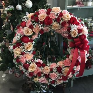 W4- Red/Peach/Pink Wreath $250