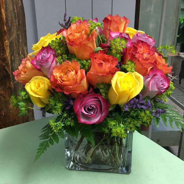 Two Dozen Roses in a Block Vase