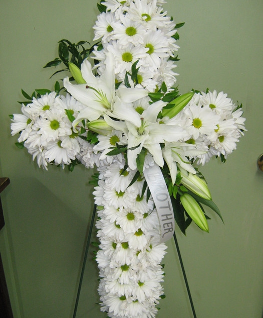 C1-White Cross with Lilies $160