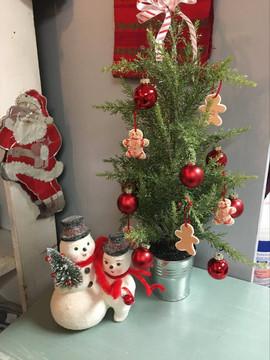 Artifical Mini Tree $35 Snowmen $20