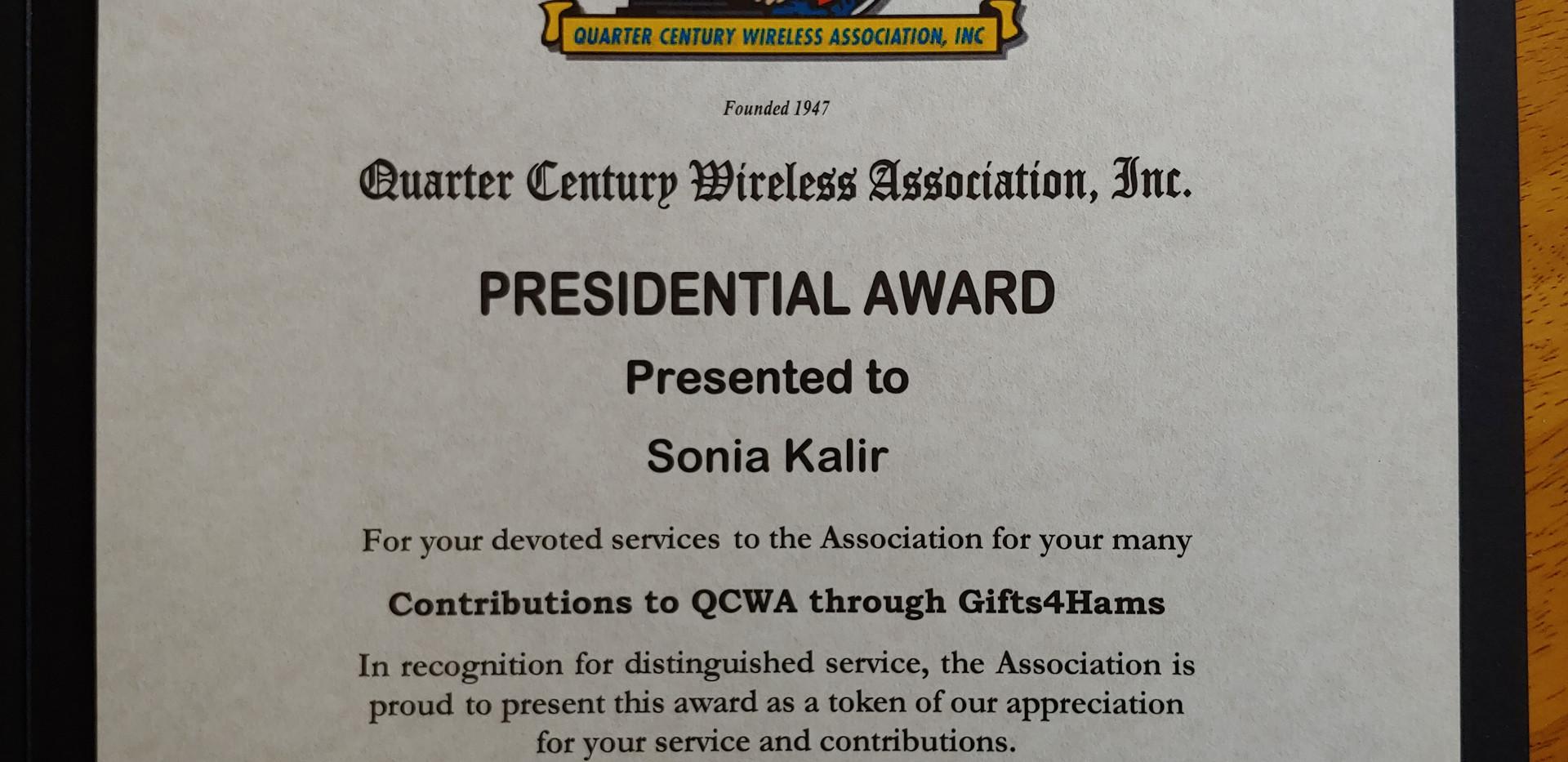 Presidential Award - Sonia