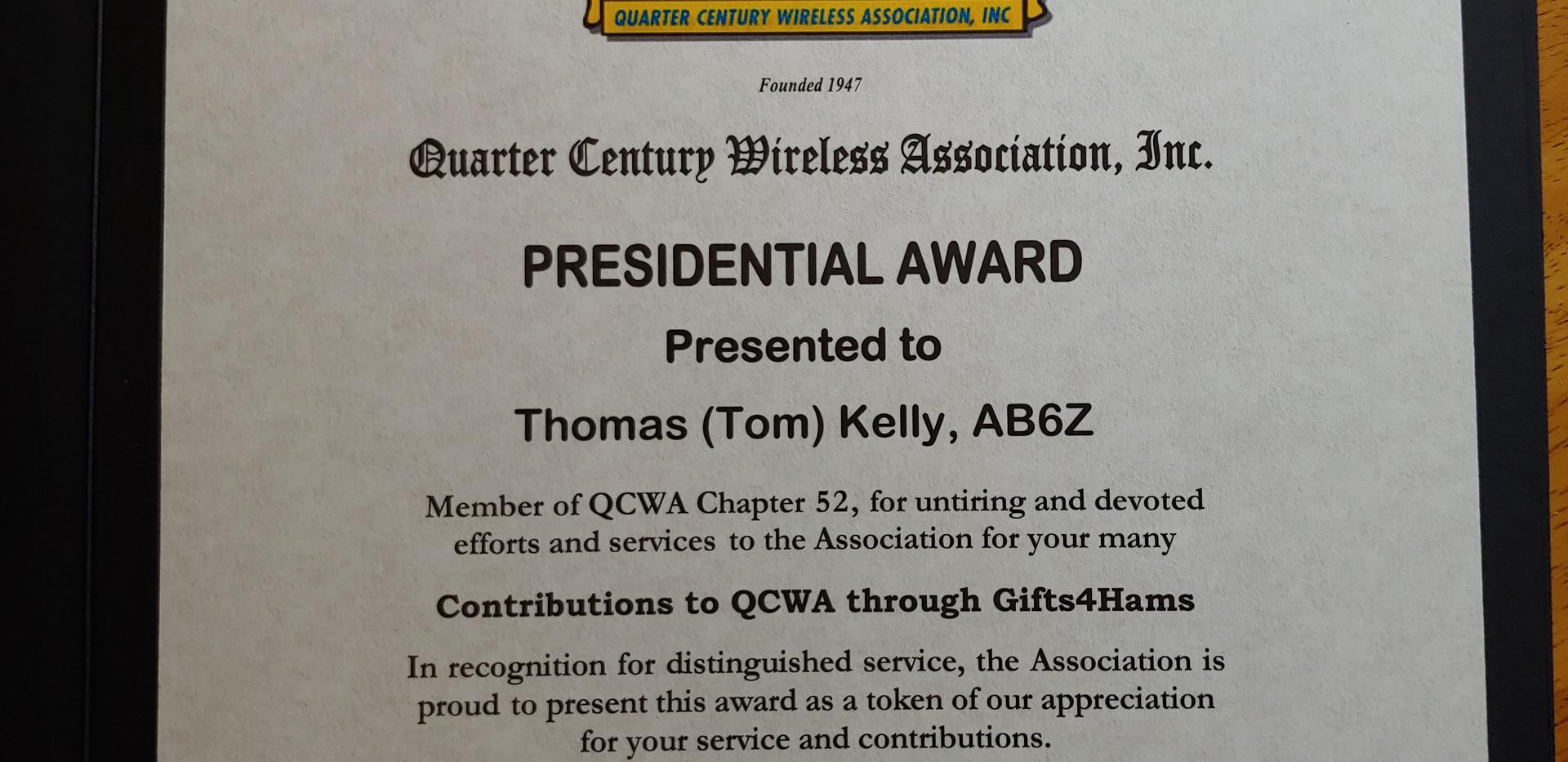 QCWA Presidential Award - Tom AB6Z
