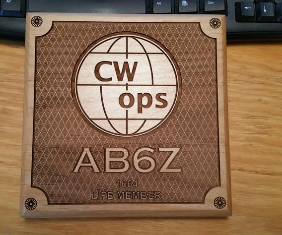 CWops Plaque - AB6Z