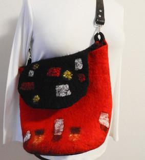 Red with black flap shopulder bag