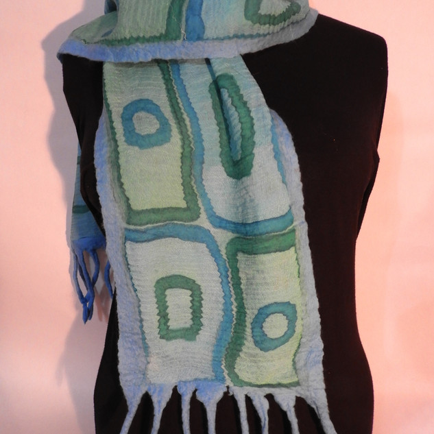 Hand painted nuno felted green squares o