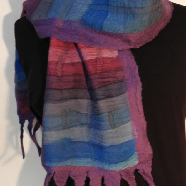 Hand painted nuno felted stripes on purp