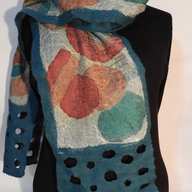 Hand painted nuno felted rust turquoise