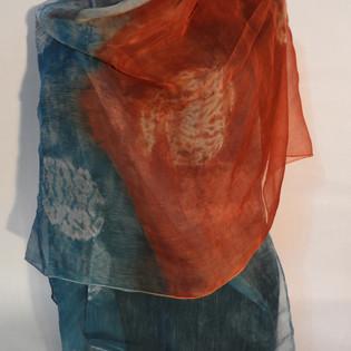 Silk chiffon shawl shibori dyed rust and