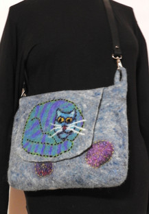 blue kitty shoulder bag
