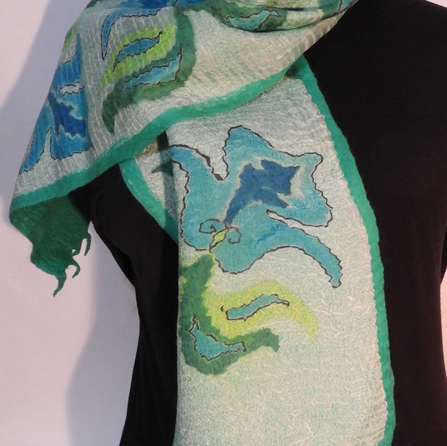 Hand painted nuno felted blue blossoms o