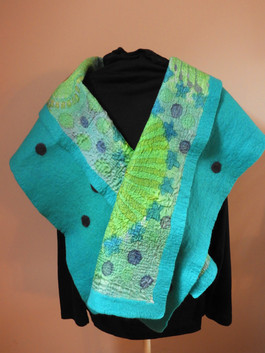 HAnd painted silk and Merino Shawl