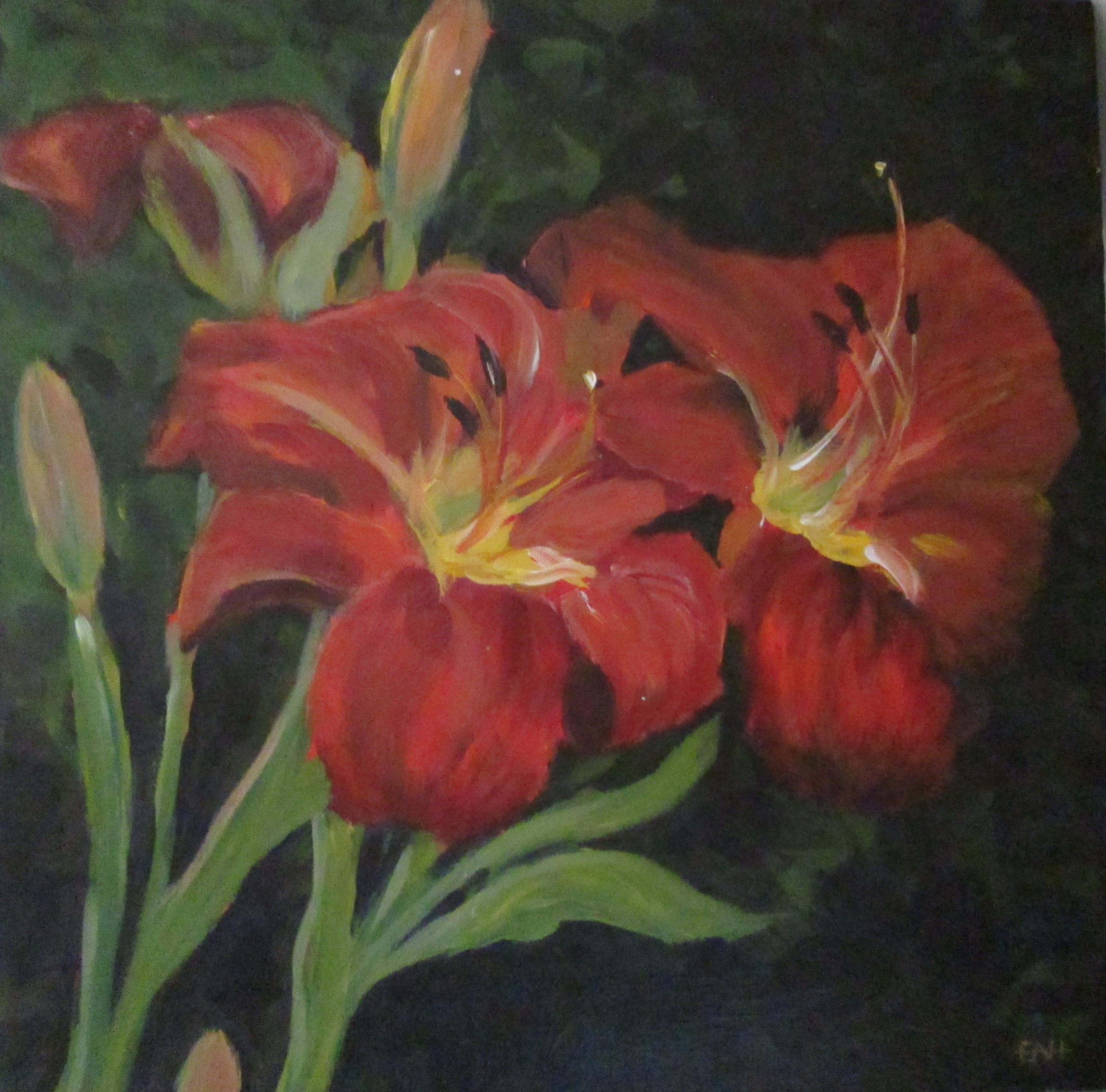 Flaming lilies 12 X 12