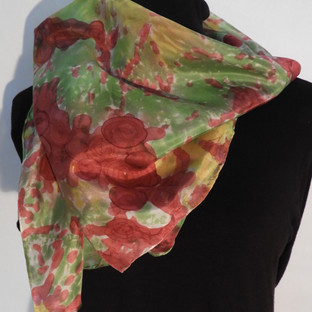 Hand painted cabbage roses on green and