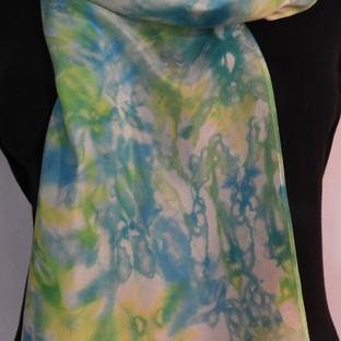 Shibori dyed turquoise and yellow