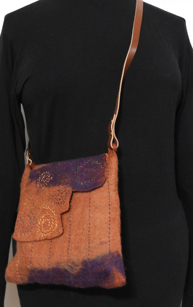 rust and purple cocktail bag