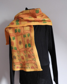 Hand Painted and Merino Felt Scarf Gold