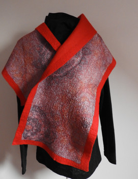 Hand Painted Silk and Merino Felt Shawl