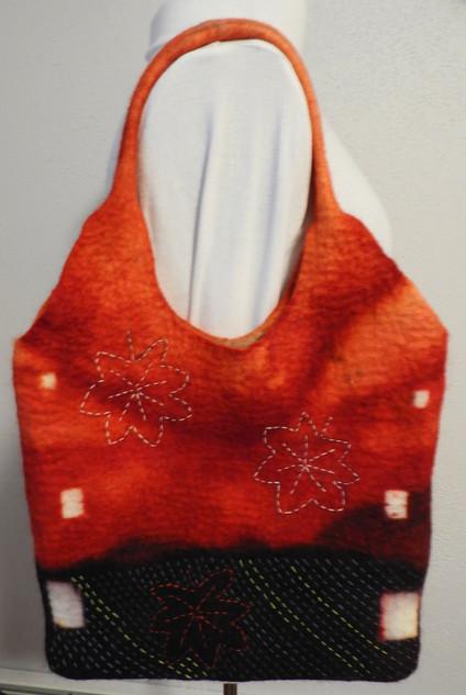 Handbag with Sashiko Stitching